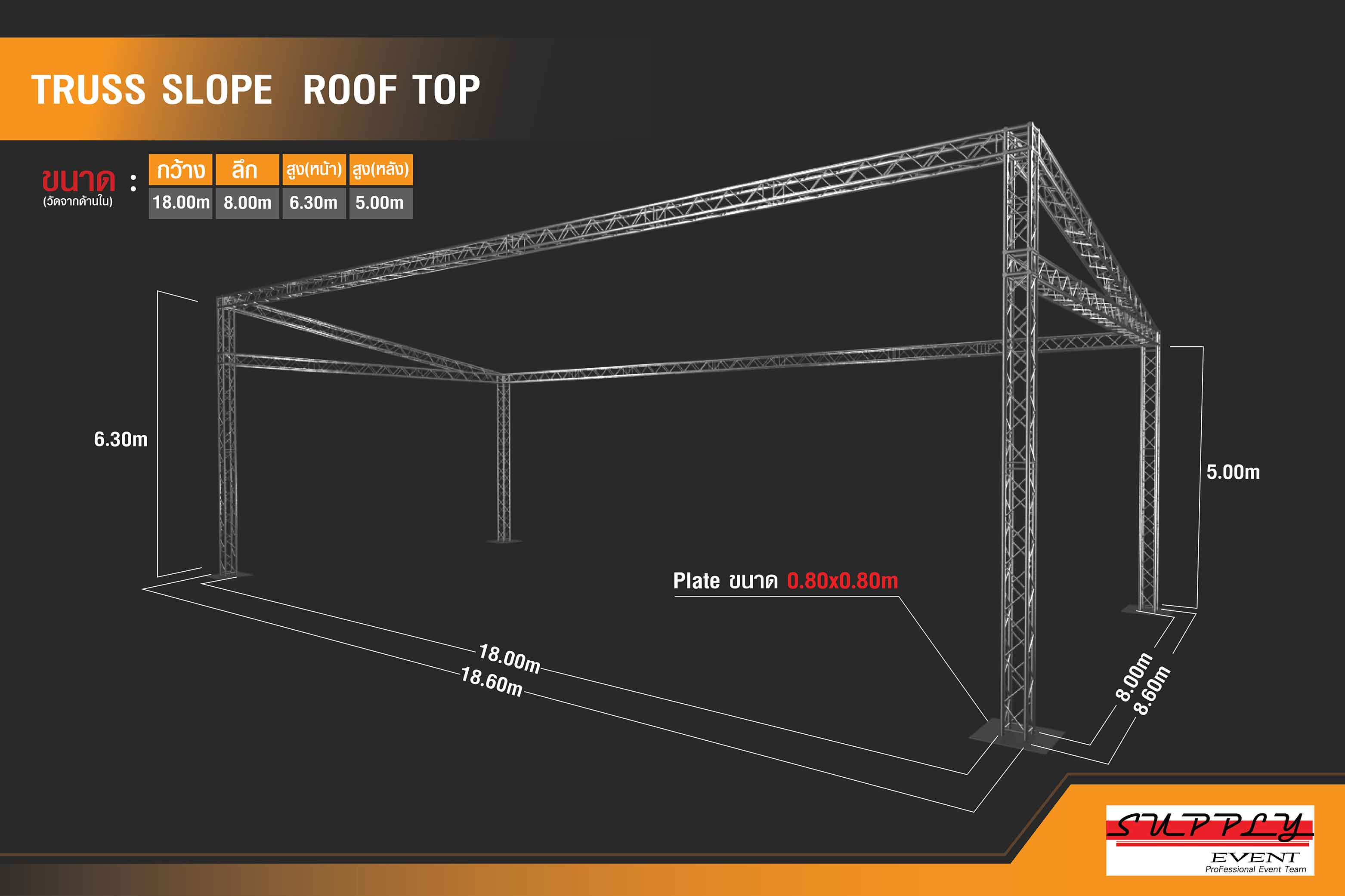 Truss slope roof top